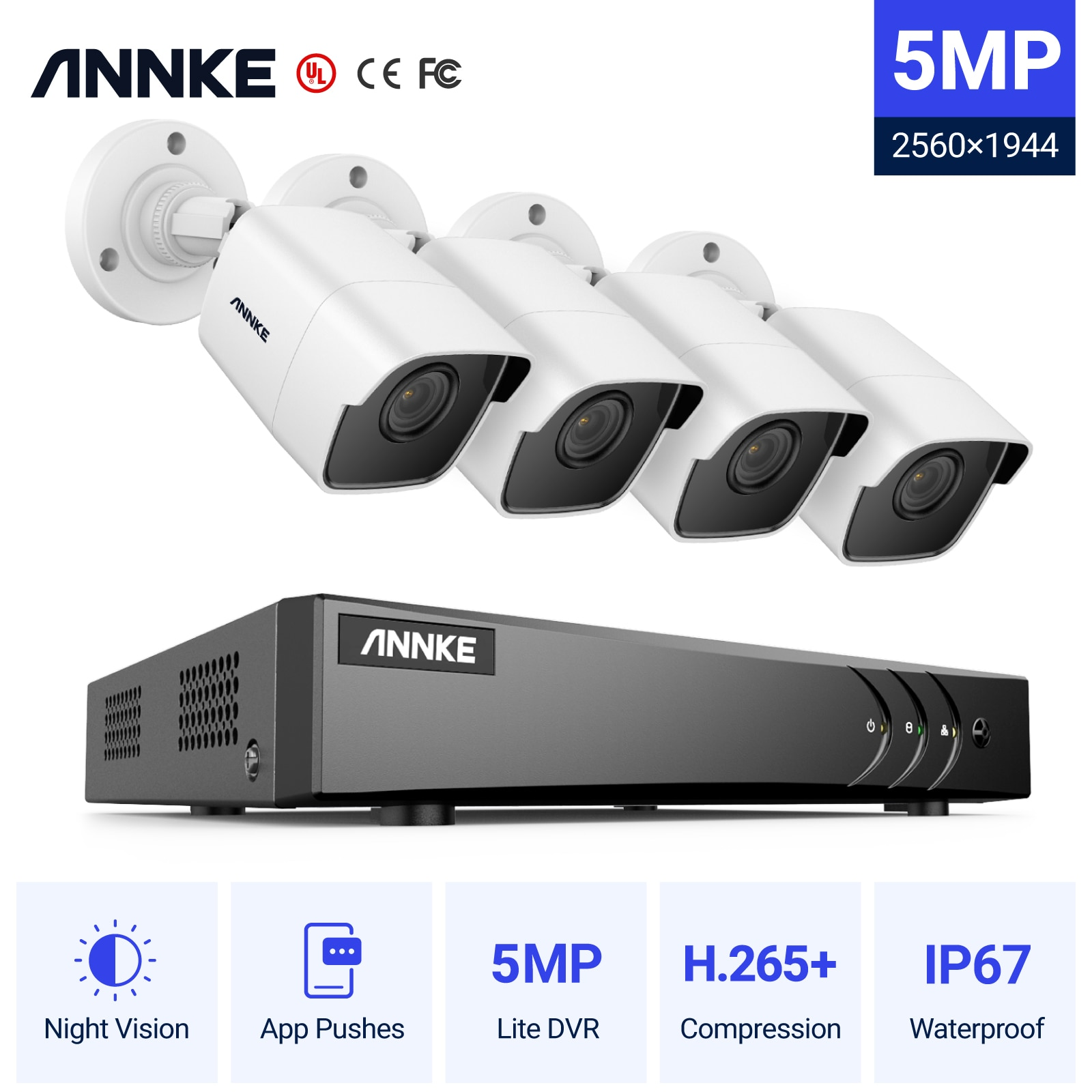 Система видеонаблюдения ANNKE, 4 канала, 5 Мп, 4 камеры
