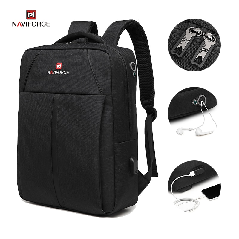 NAVIFORCE Fashion Men's Backpacks Large Capacity Business Casual Travel USB Charging Bag Laptop Note