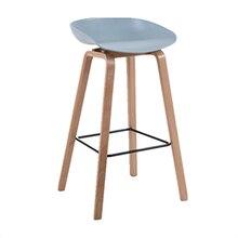 Скандинавский барный стул, высокий стул из цельного дерева, белый дизайнерский современный простой стул для отдыха, бар