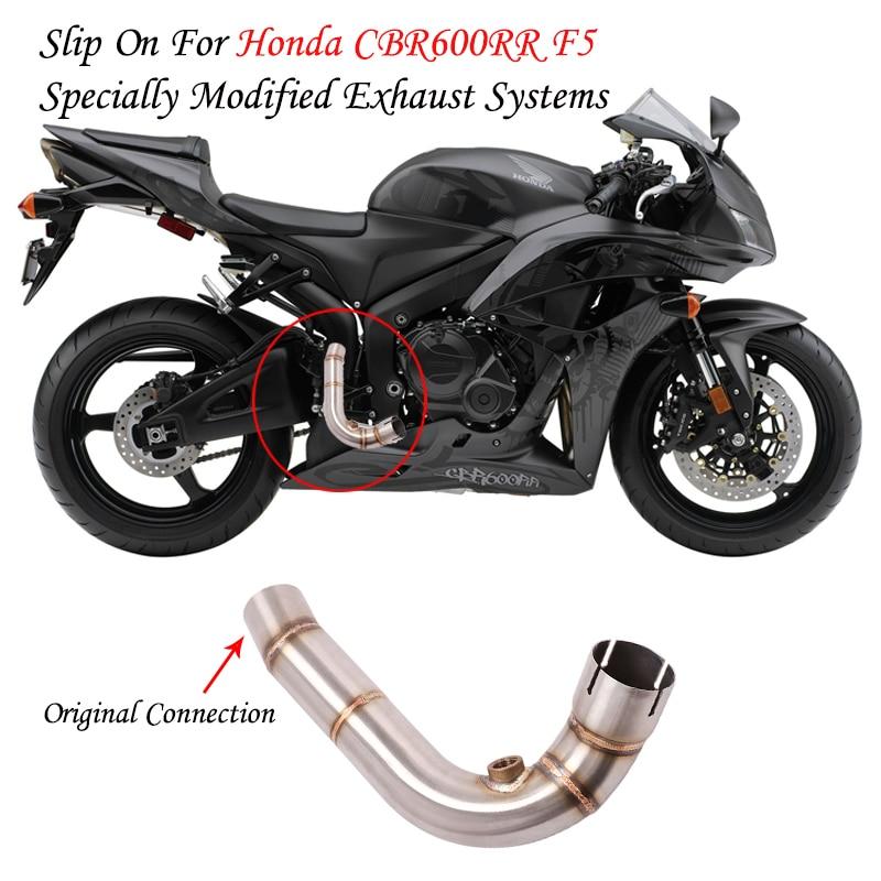 Sistema de escape para motocicleta modificada medio intermedio de la tubería de conexión para Honda F5 CBR600 CBR600RR 2007-2019, 2018, 2017, 2016 08