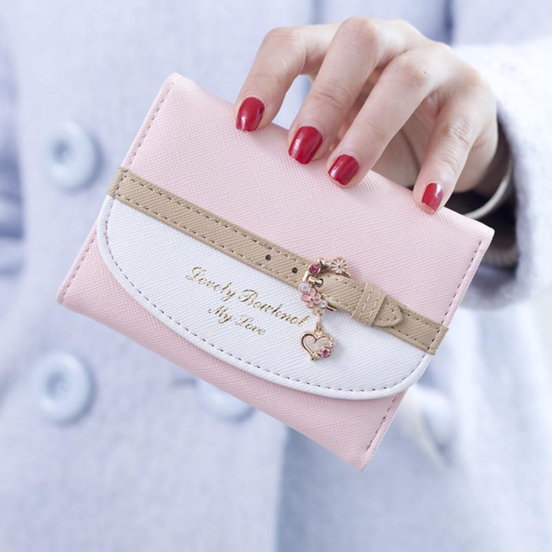 Women Lady Girl Cute Mini Wallet Elegant Card Holder Coin Purse Small PU Leather Clutch Handbag Fash