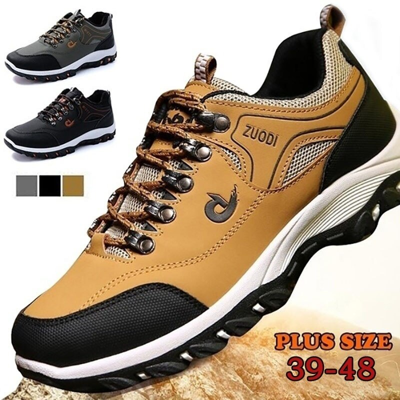 Outdoor Mens Hiking Shoes Waterproof Trekking Sneakers Breathable Fishing Camping Shoes Lace-up Hunting Boots Mountain Boots