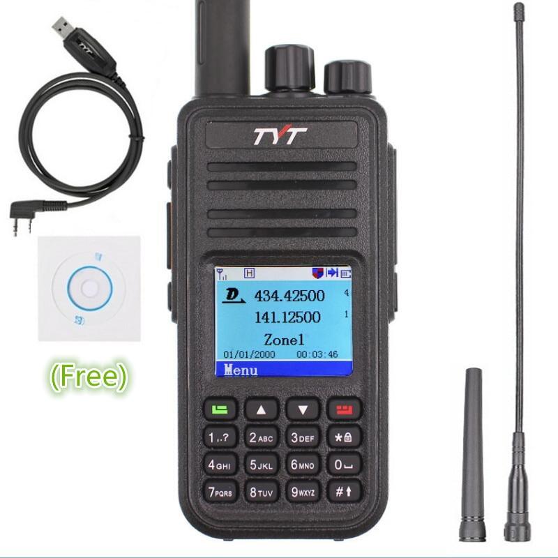 TYT MD-380 Walkie Talkie DMR Digital VHF UHF long range Two Way Radio 5 watts MD 380 Transceiver  Ham Radio Amador+Program Cable
