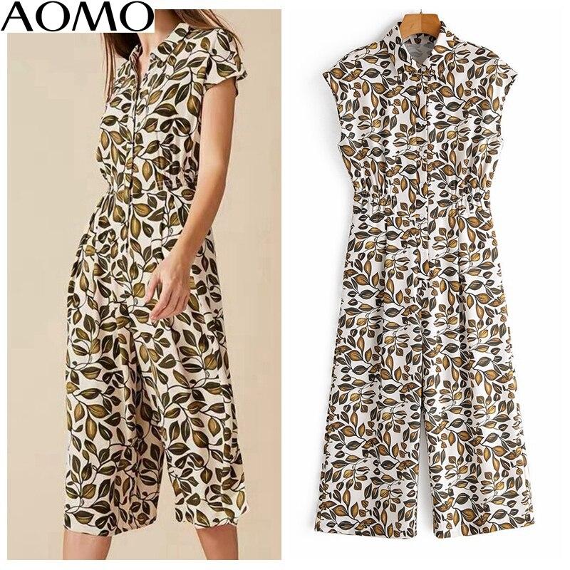 AOMO fashion Women summer leaf print long jumpsuit short Sleeve turn down collar female casual Jumpsuit 1F76A