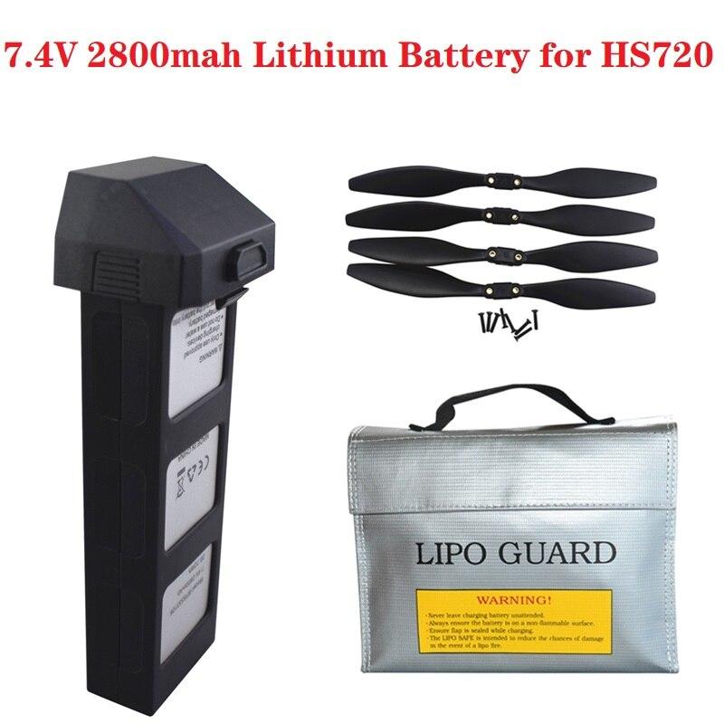 Bateria recarregável original de 7.4v para as peças sobresselentes dos zangões de hs720 gps rc quadcopter para a bateria de hs720 7.4v 2800 mah lipo com saco