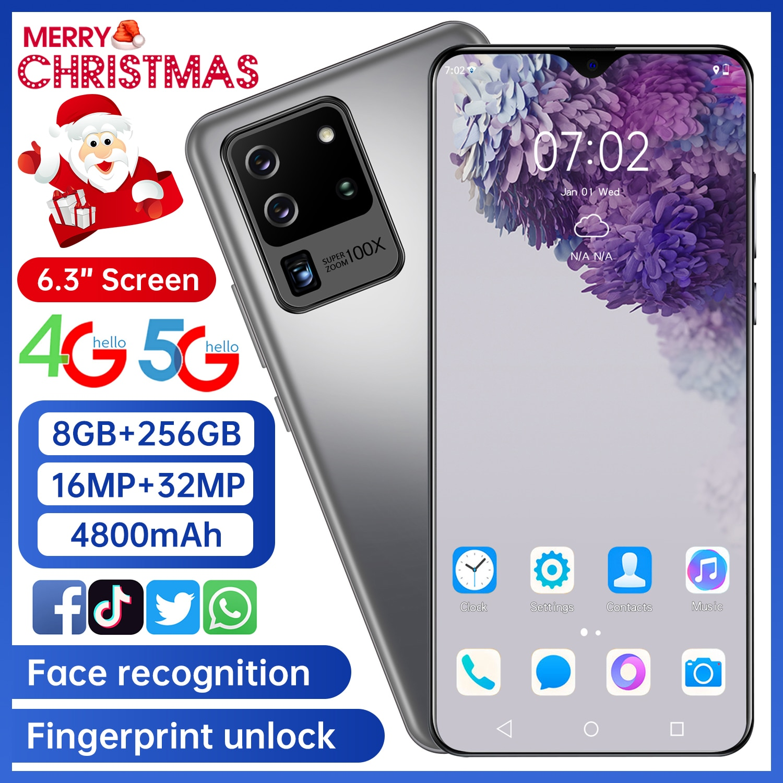 New Smartphone  32MP 8G 256G S25U Fingerprint Unlocks the Dual Card Standby 6.3-inch Full-screen Ultraben Phone 4G Network