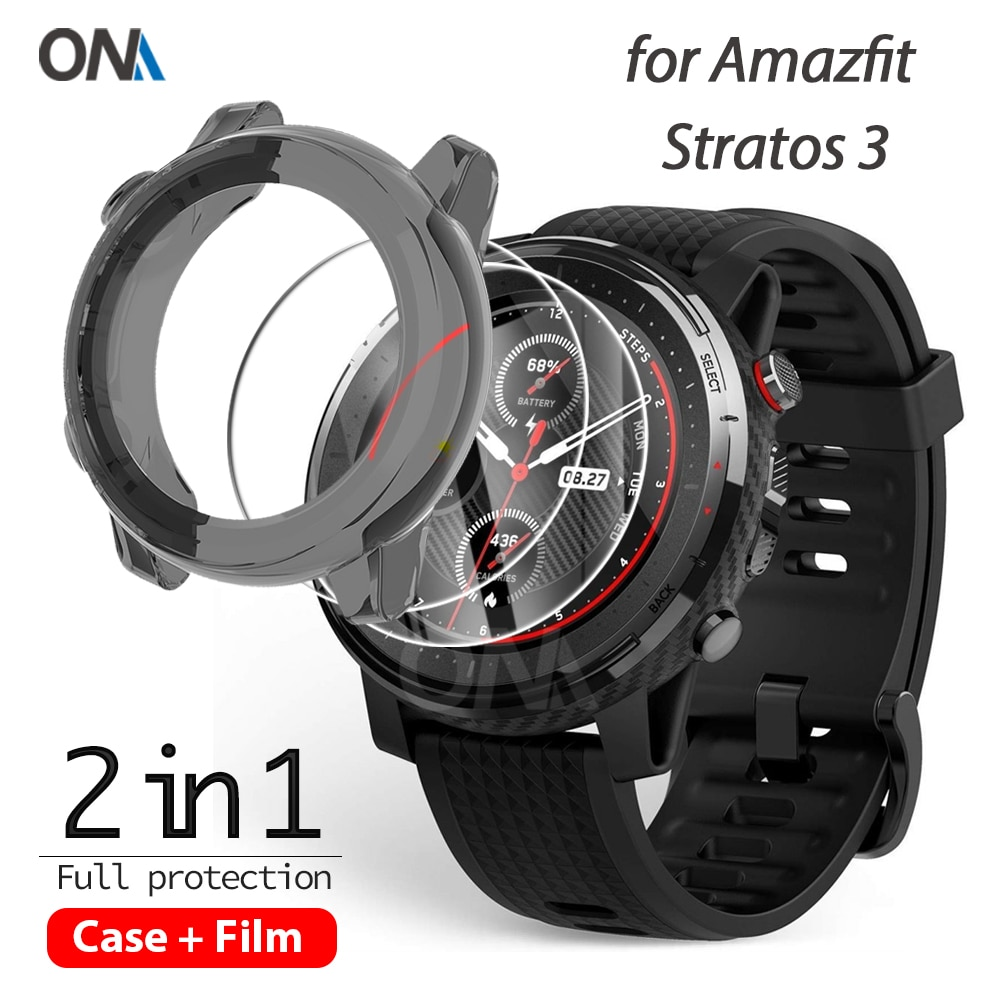 2+1 Protector Case + Screen Protector for Huami Amazfit stratos 3 smart watch Soft TPU Protective Co