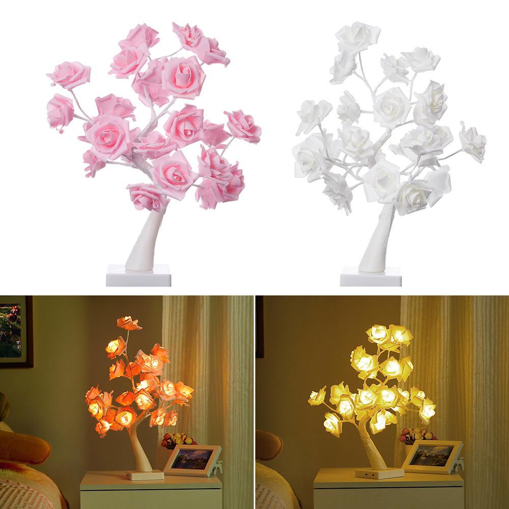 Dos modos, lámpara rosa para mesa, árbol, mesa, regalo para niñas y bodas, decoración familiar, fiesta de Navidad con 24 luces LED