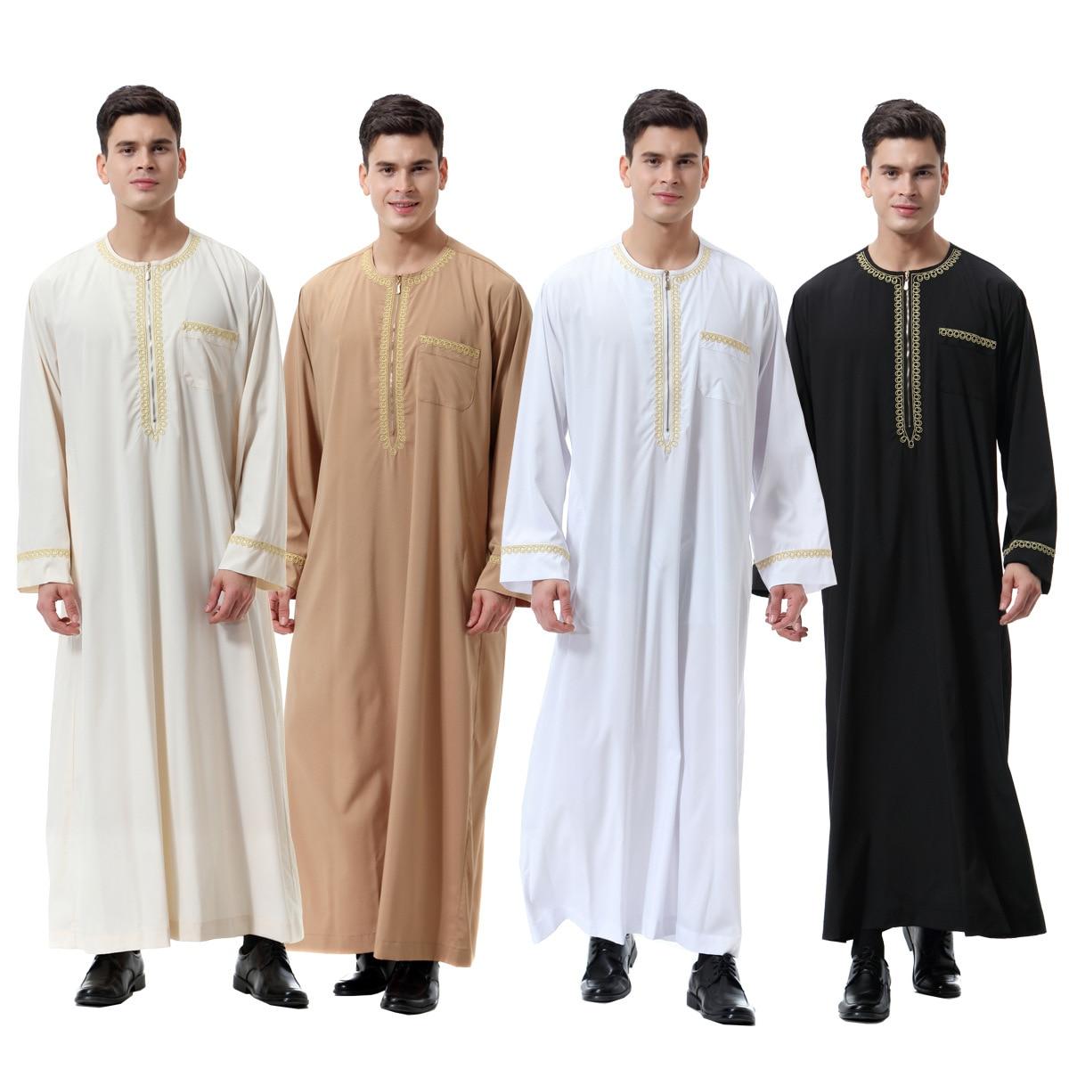 Muslim islamic Clothing Men Jubba Thobe print zipper Kimono Long Robe Saudi Musulman Wear abaya caftan Islam Dubai Arab Dressing