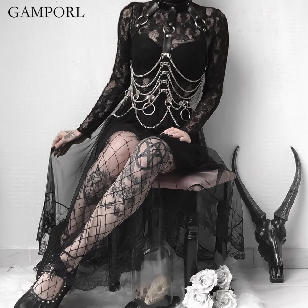 GAMPORL Edgy Women Leather Harness Gothic Dress Bdsm Sex Lingerie Femdom Belts Pastel Erotic Chest Body Strapon Bondage Cage