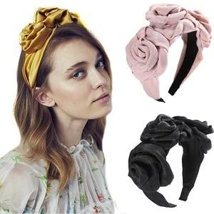 Haimeikang Floral Sharp Bezel Hair Hoop For Women Girls Fashion Headband Elastic Hair Bands Solid Color Hair Accessories