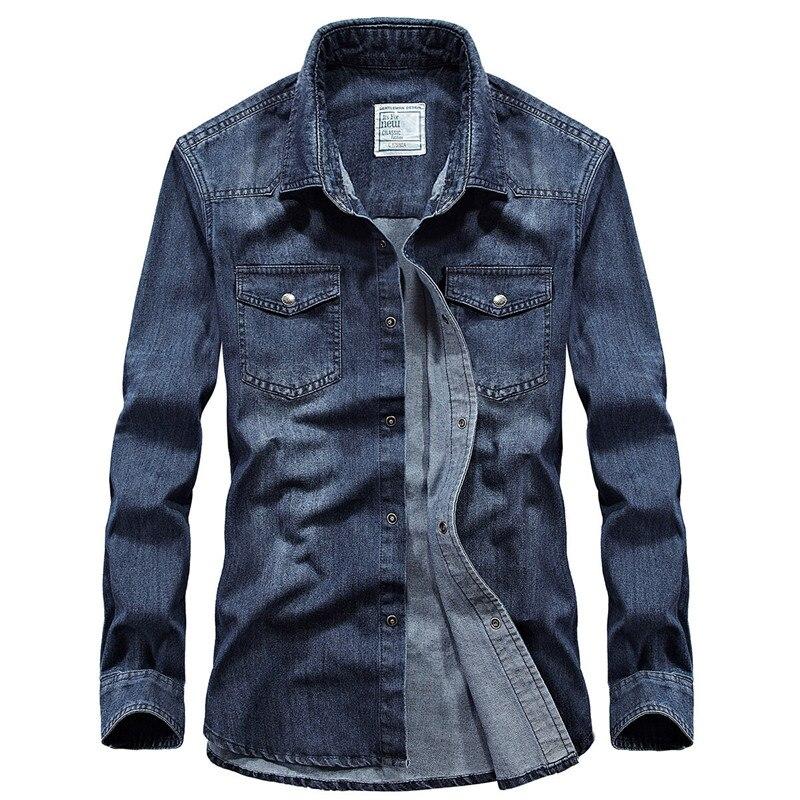 العلامة التجارية الدنيم قميص الرجال الخريف طويلة الأكمام القطن واحدة الصدر الجينز قميص الذكور عارضة القطن الرجال قمصان حجم S-4XL
