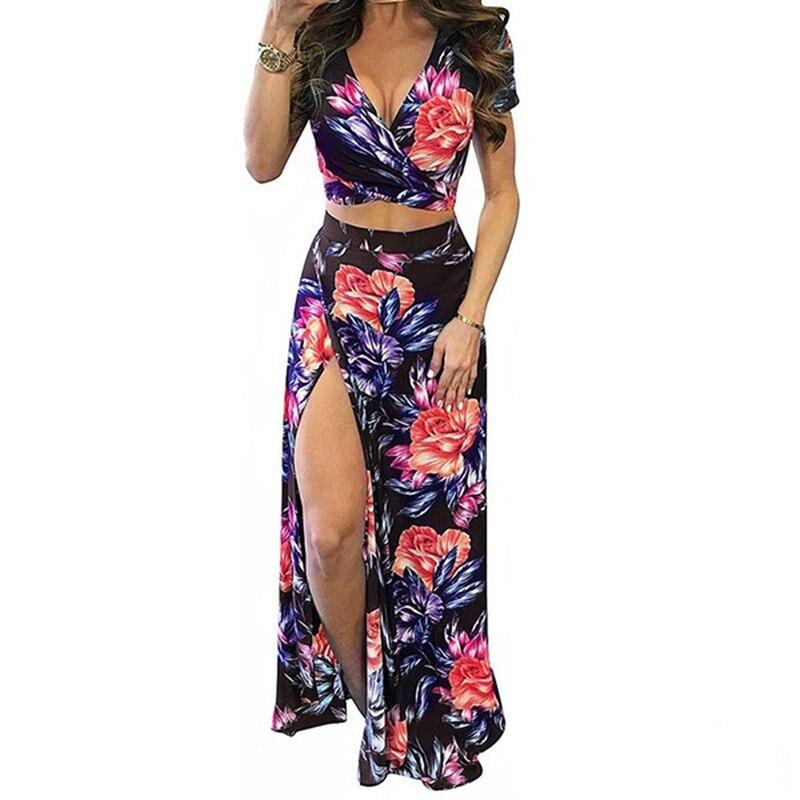 2021 Elegant Women Summer Long Skirt Set Bohemian Style Sexy Hollow Out Crop Top Skirts Floral Print V-Neck Women Beach Dress