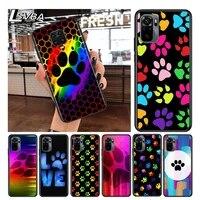 dog paw cute for xiaomi redmi note 10 10s 9 9t 9s 9pro max 8t 8pro 8 7 6 5 pro 5a 4x 4 soft black phone case
