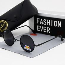 Gafas de sol redondas de moda ovaladas, vasos circulares polarizados para hombre, gafas de sol de marca de diseñador para hombre, UV400 montura negra, realizar 2019