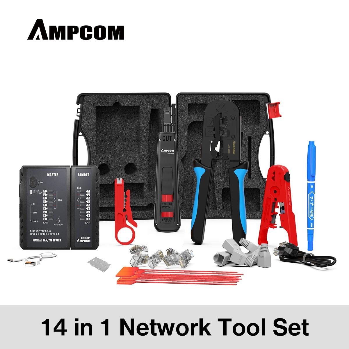 AMPCOM-مجموعة أدوات شبكة احترافية 14 في 1 ، أداة اختبار كابل إيثرنت ، موصلات Rj45 Rj11 Cat6 ، مكشكش الكابلات ، كماشة متجرد