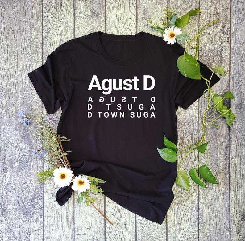 Agust d camisa masculina kpop suga agustd algodão curto sleevet camisa unissex camisetas femininas S-3XL