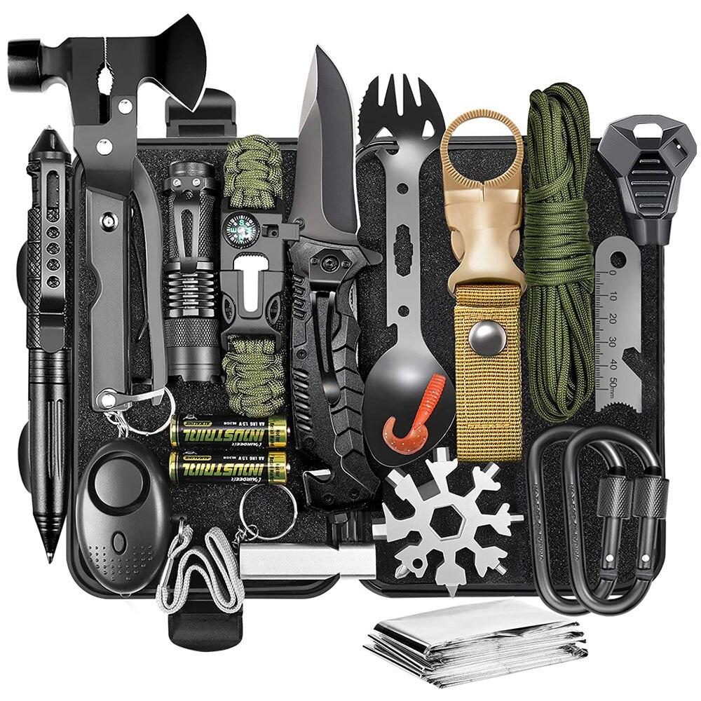 معدات ومعدات البقاء على قيد الحياة 21 في 1 أدوات باردة المهنية الاشياء أداة التكتيكية هدية الأفكار بالنسبة له الصيد في حالات الطوارئ