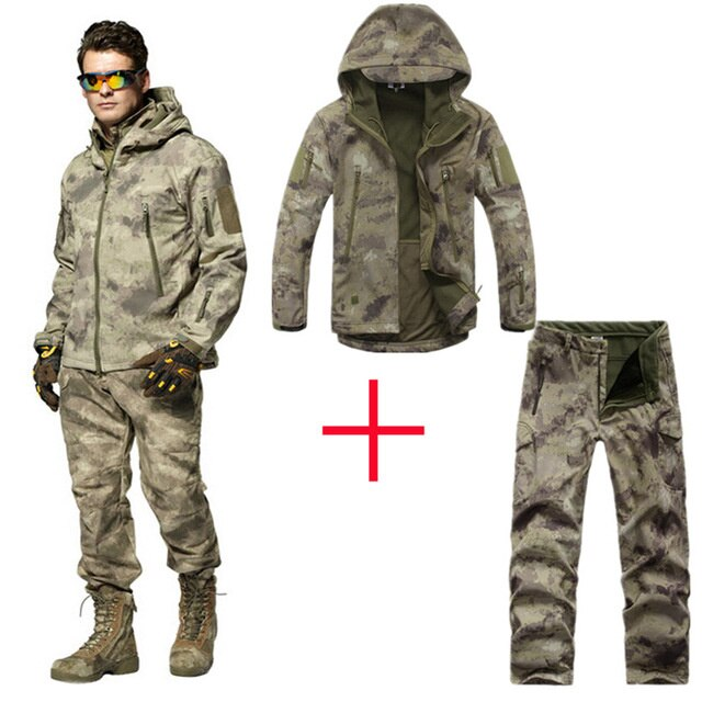 2021 Men Outdoor Waterproof Jackets XS Softshell Hunting Outfit Thermal Clothes Tactical Camping Hiking Breath Sport Suit