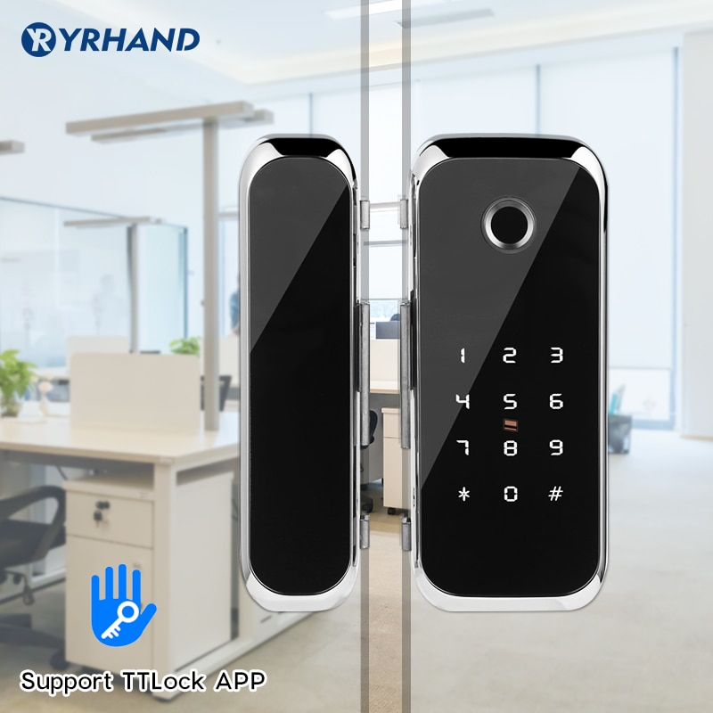Promo Smart WiFi Bluetooth APP Access Electronic Biometric Fingerprint Office Glass Sliding Door Lock