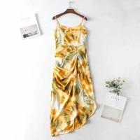 fashion sexy 2021 women print sleeveless spaghetti strap ruched side irregular hem midi dress party dresses vintage %d9%84%d8%a7%d8%a8%d8%b3 %d9%86%d8%b3%d8%a7%d8%a6%d9%8a%d9%87
