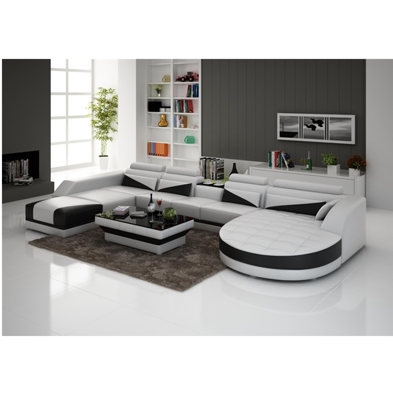 Muebles modernos de sala de estar sofá de cuero G8018