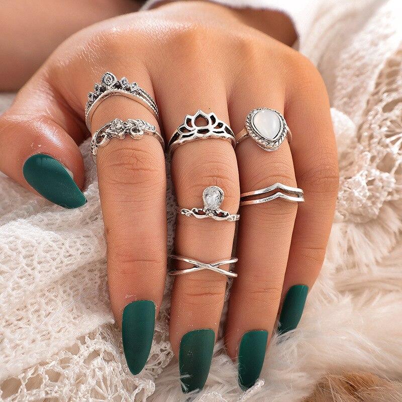 Anillos de compromiso para mujer, joyería tallada con gran gema en forma...