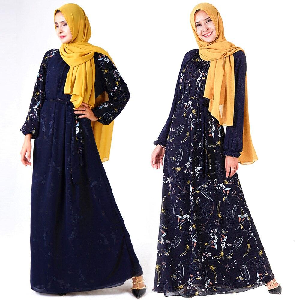 Vestidos de dos caras para mujeres musulmanas moda Retro abaya de chifón vestido estampado manga larga cuello redondo Maxi vestido Dubai ropa islámica
