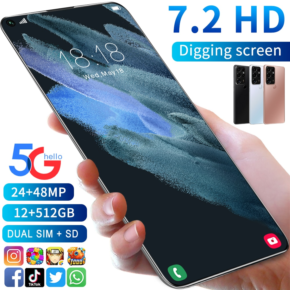 New Arrival S25 Ultra Global Version 7.2 Inch Screen 12GB 512GB Android10.0 Snapdragon 888 Face ID 5
