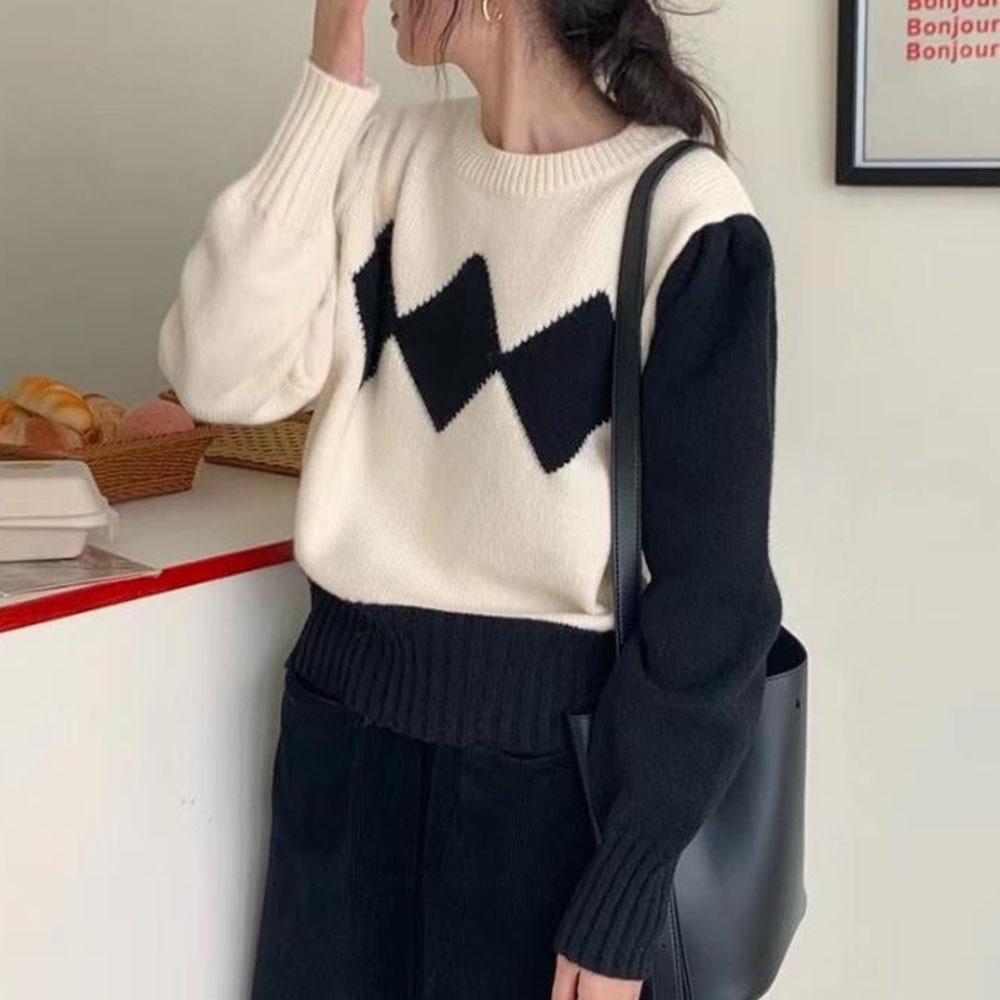 Pull en maille lozengé rétro pour femme, manches longues, couleur contrastée, mode coréenne, automne, 2021