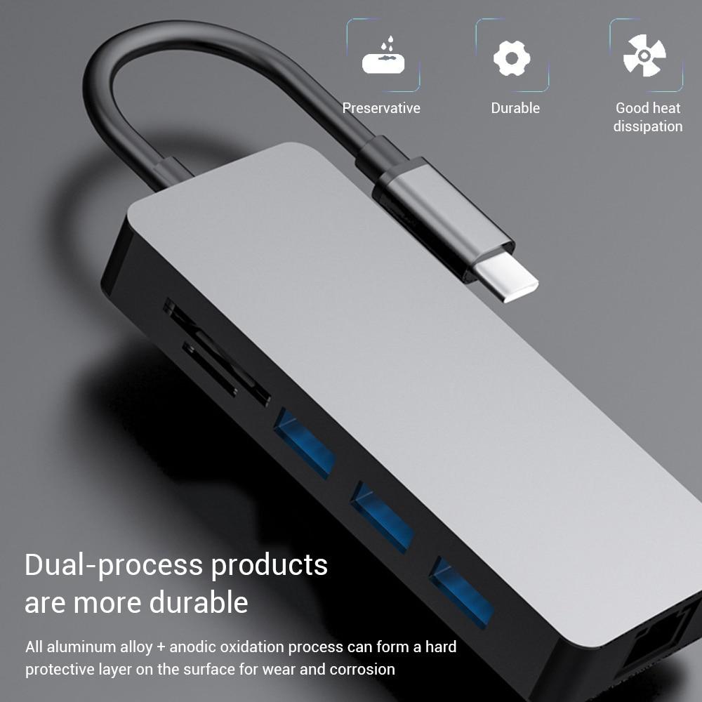 محطة إرساء الهواتف المحمولة 8 في 1 نوع C Hub USB C إلى USB 3.0 RJ45 SD/TF PD شحن سريع 4K HDMI متوافق مع الفاصل