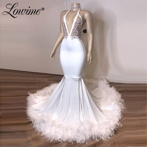 Feather Hot Sexy African Party Dresses Mermaid Evening Gown Halter Open Back Long Prom Dress 2020 Robe De Soiree Dubai Dress