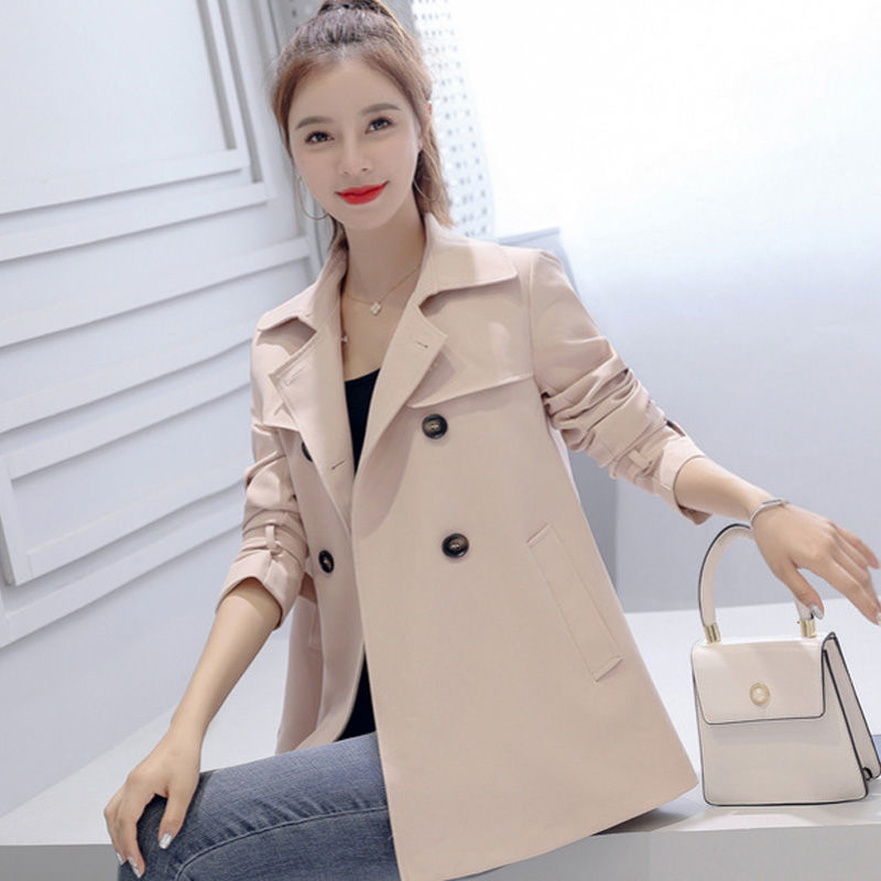 Women's khaki casual windbreaker short jacket autumn new style Korean casual thin student windbreake