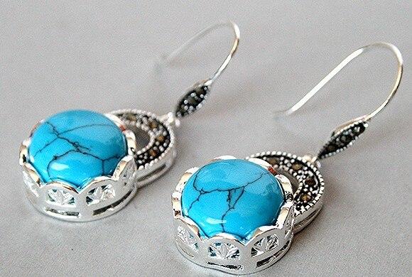 Charm ladys 925 Plata azul turquesa marcasita pendiente plata natural gema/jade/coral/ópalo marcasita pendientes