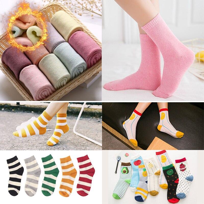 3 pares de calcetines de moda a rayas de tobillo patrón de dibujos animados lindo Harajuku mujeres calcetines de algodón de Color sólido Casual Otoño Invierno calcetines cortos