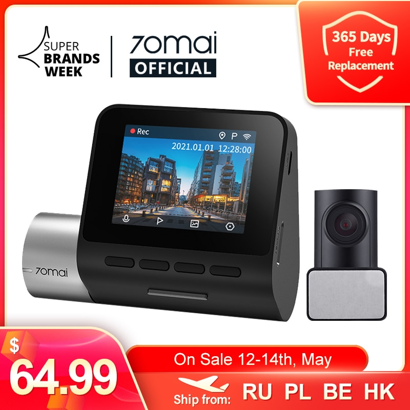 70mai A500 Dash Cam Pro Plus 1944P GPS ADAS Car Dash Camera Dual Sight Cam 70mai Plus A500S Car DVR 24H Parking