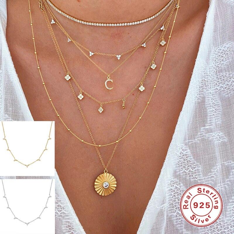MARY Luxury Collar de plata de ley 925, collar de cadena con colgante a la moda, collares de mujer, collar de mujer, regalo para pareja