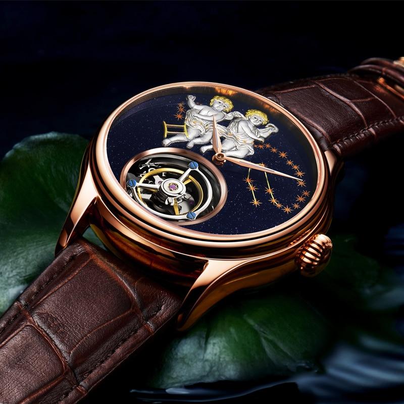 AESOP Flying Tourbillon Mechanical Watch Mens Watches for Male Clock Men Gold Sapphire Tourbillon Wa