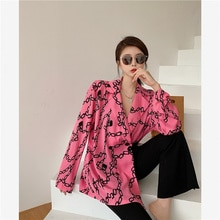 Korean Adult Lady Like Woman Style Printed Loose Suit Shirt Pink Long Blazer Feminino Women Coat Vin