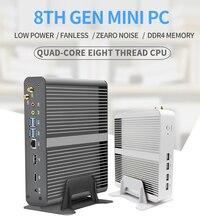 Eglobal 팬리스 미니 컴퓨터 Intel i7 10510U i7 8565U i5 8265U 2 * DDR4 Msata + M.2 PCIE 미니 PC Windows 10 HTPC Nuc VGA DP HDMI