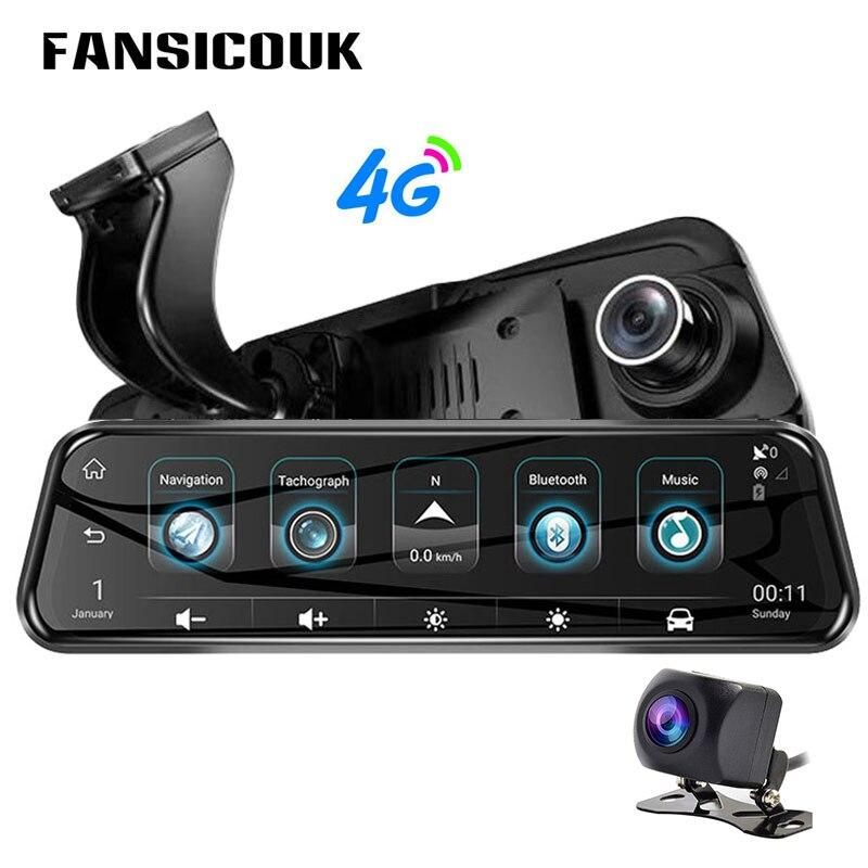 """10 """"coche DVR 4G Dual lente ADAS 1080P cámara de salpicadero GPS Bluetooth Wifi Monitor remoto de cámara de vídeo Secretario espejo retrovisor H58"""