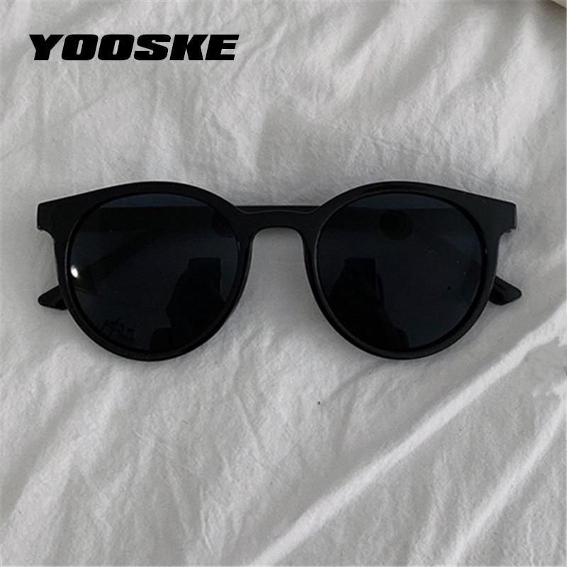 YOOSKE Round Sunglasses Women Brand Designer Vintage Small Sun Glasses Ladies Korean Style Shades Ey
