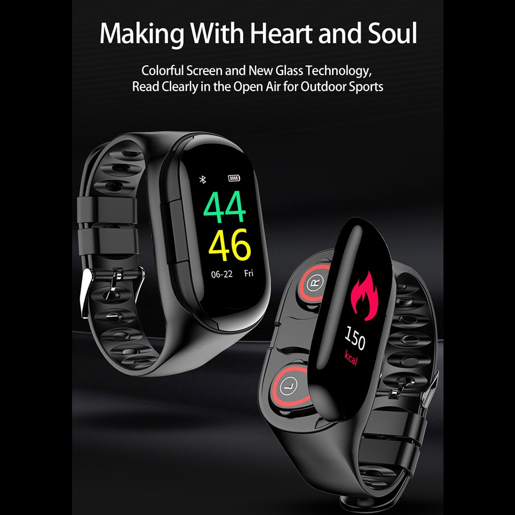 Bluetooth com Estéreo Relógio Inteligente Tela Colorida Pulseira Duplo Earbud Relógios Inteligentes Vdx99