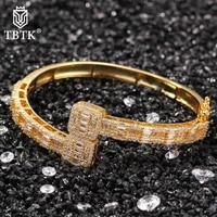tbtk hiphop 6 4mm high quality iced out cubic zircon baguette bracelet luxury gold wrist rapper fashion jewelry punk men bangles