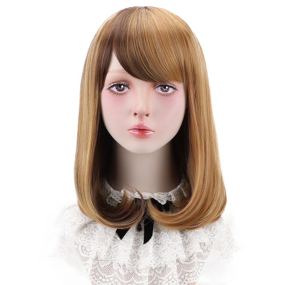 """Free Beauty 18"""" Long Wavy Synthetic Strawberry Blonde Natural Blond Hair Wigs with Side Bangs for Women Lolita Cosplay Party"""