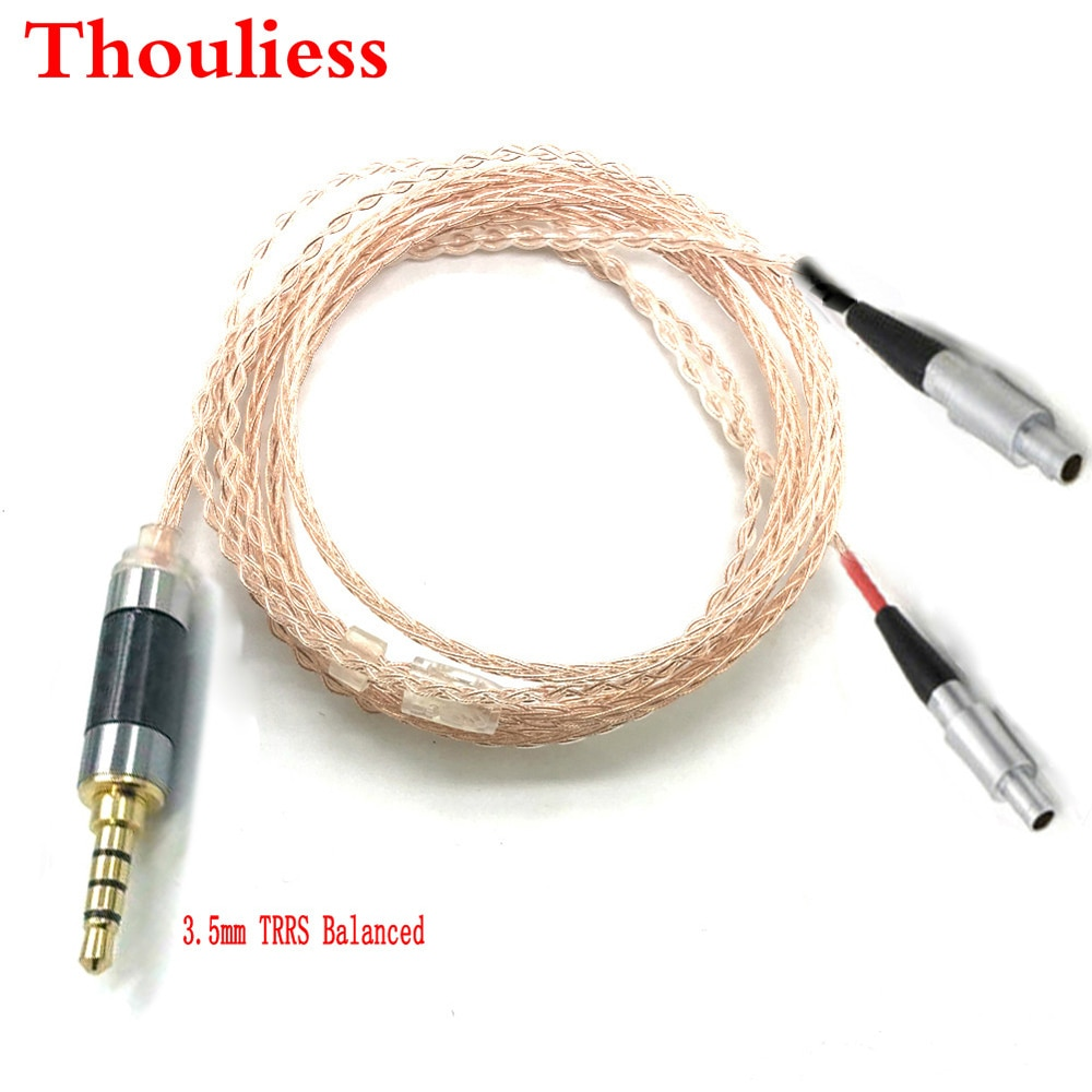 Thoulies HIFI 3.5mm TRRS Balanced 8 core 7N OCC Single crystal copper  Headphone Upgrade Cable for HD800  HD800S HD820 Headphone