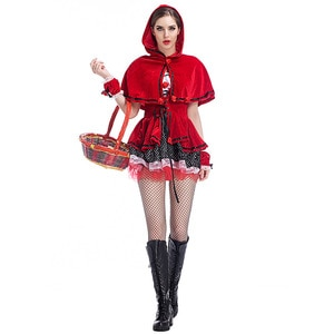 UTMEON  Really Making Picture-Little Red Riding Hood Halloween Party  Velvet Costume Adult Women Halloween Fancy Outfit