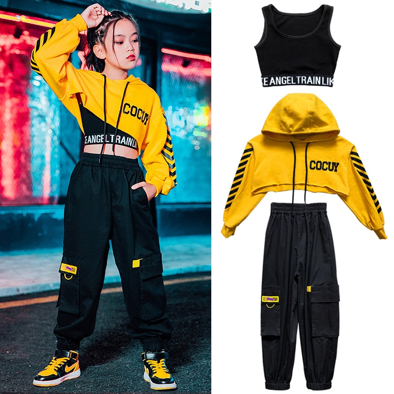 Hip Hop Costumes Long Sleeve Yellow Tops Black Pants For Girls Ballroom Jazz Dance Clothes Street St