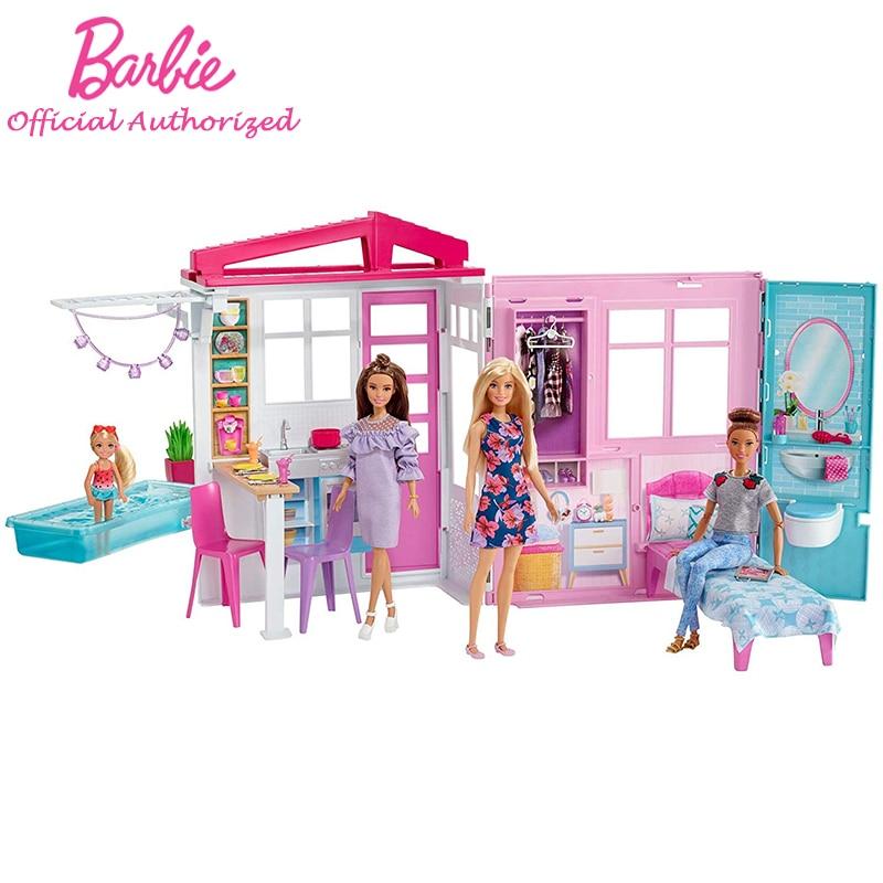 Barbie-casa de muñecas Original brillante, accesorios de princesa para niños, juguetes educativos...