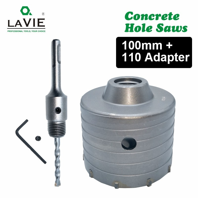 1 set SDS PLUS Concrete Hole Saw Electric Hollow Core Drill Bit 100mm Shank 110mm Cement Stone Wall Air Conditioner Alloy Blade